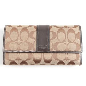 Coach Signature Monogram Canvas Trifold Wallet